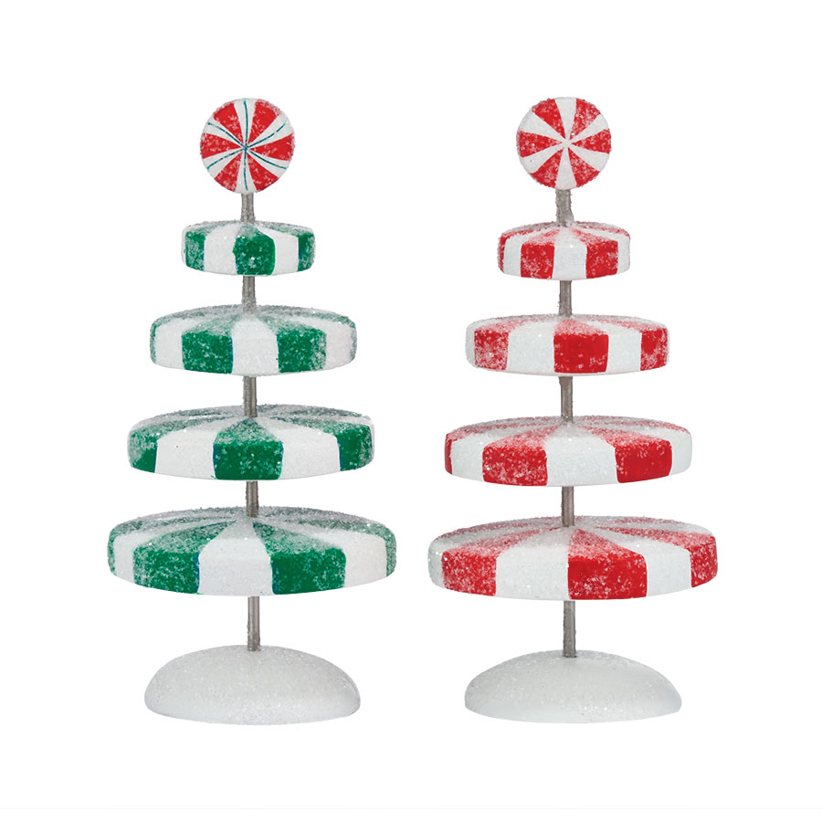 Peppermint Christmas Trees S/2