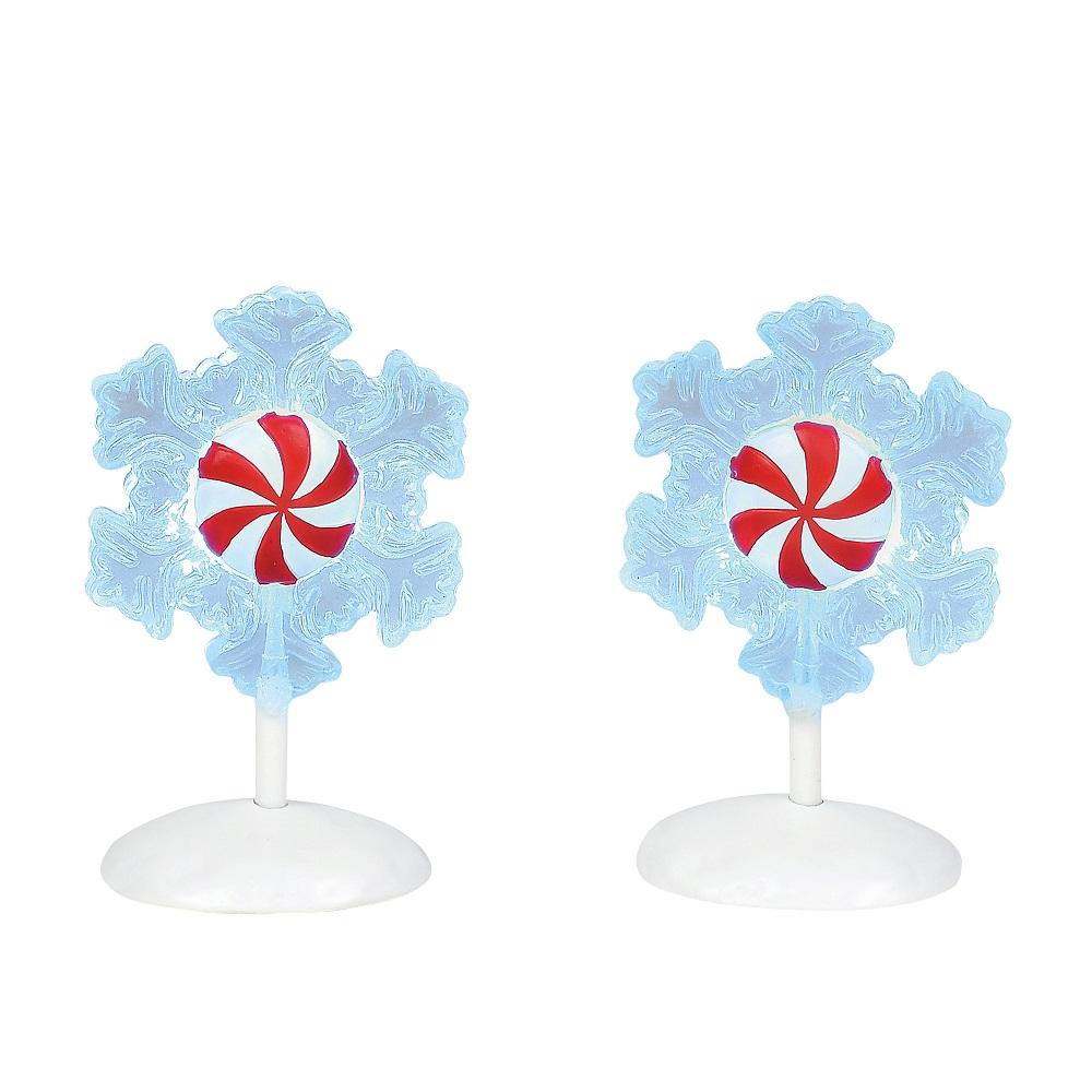 Lit Peppermint Snowflakes