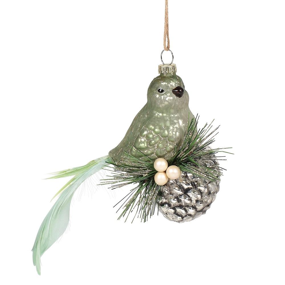 Bird On Pinecone Ornament