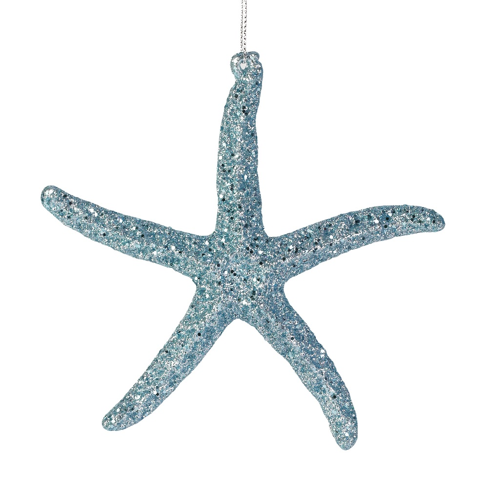 Sea Blue Glitter Starfish Ornament
