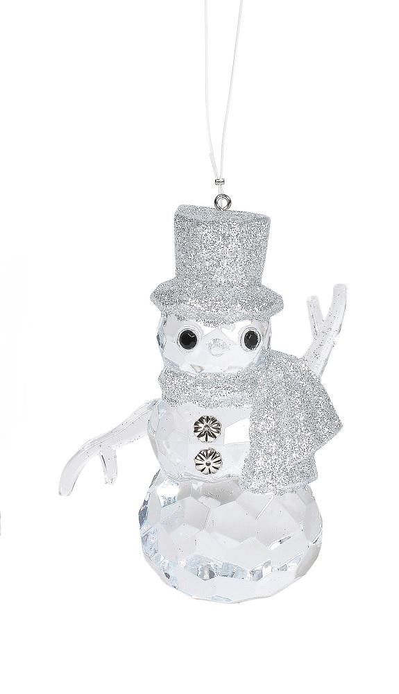 Silver Acrylic Snowman Ornament
