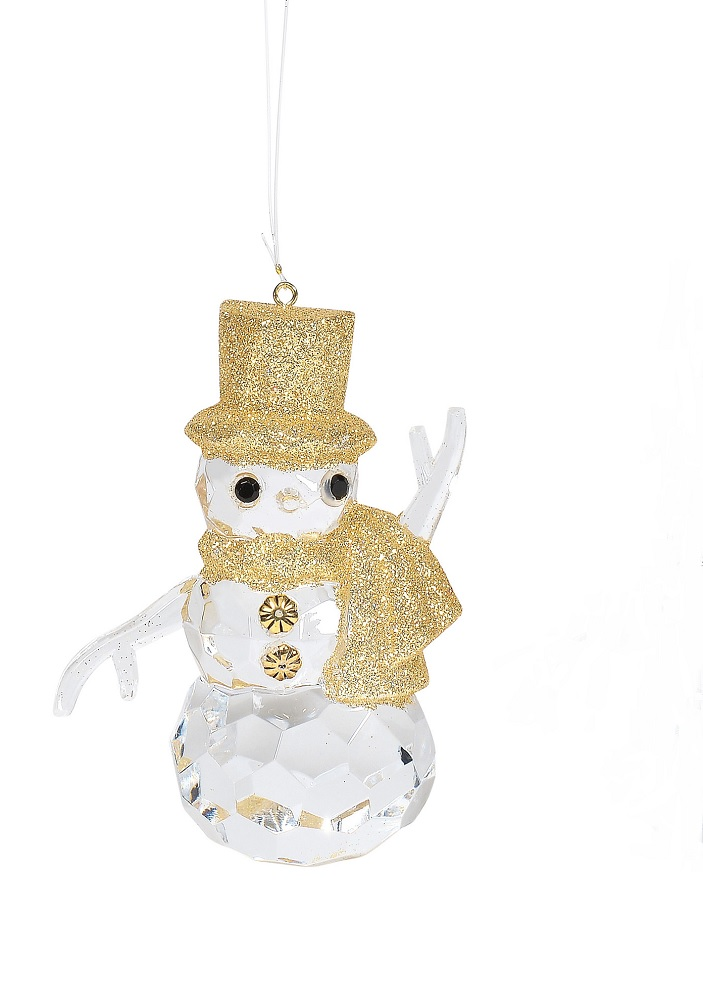 Gold Acrylic Snowman Ornament