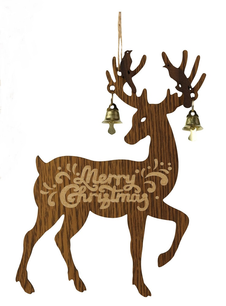 Deer With Bell Brown Ornament