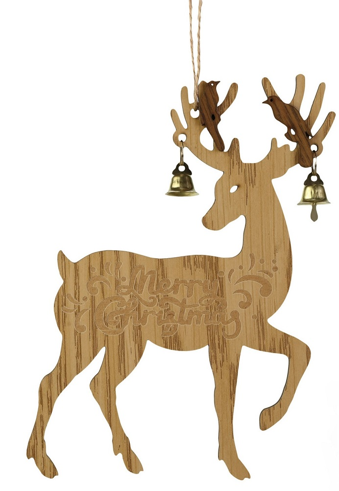 Deer With Bell Tan Ornament