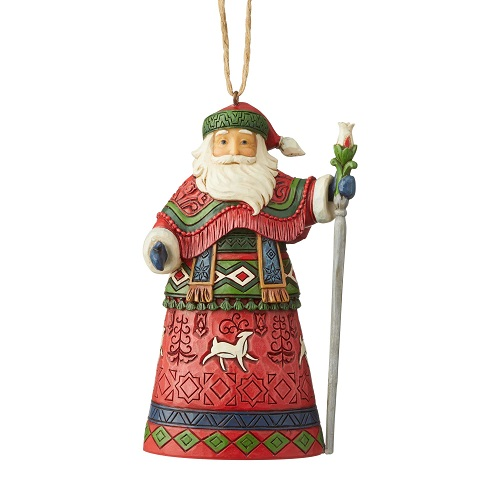Lapland Santa With Staff Ornament