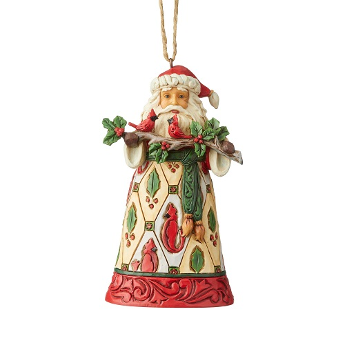Santa With Cardinals Ornament