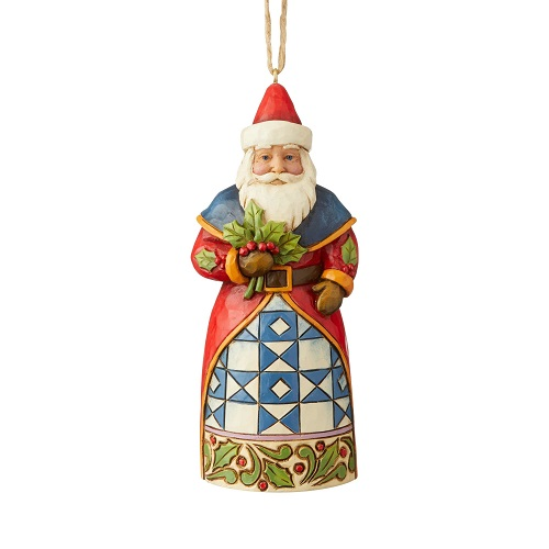 Santa With Holly Ornament
