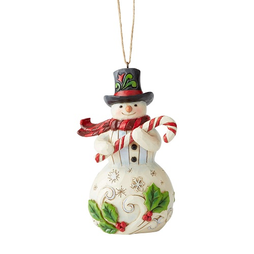 Snowman With Candy Cane Ornament