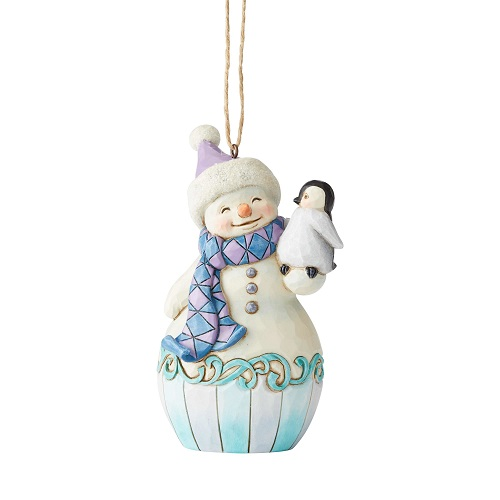 Snowman With Baby Penguin Ornament