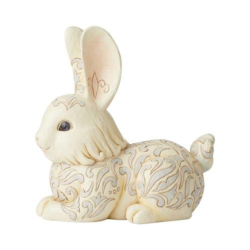 White Woodland Bunny Statue