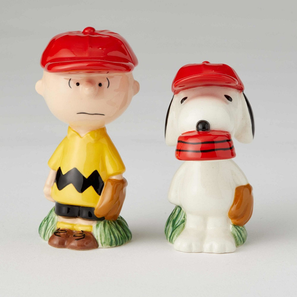 Charlie Brown and Snoopy Baseball Salt and Pepper Shakers